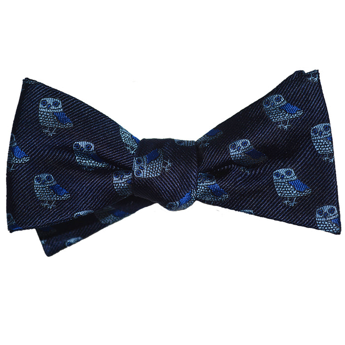 Owl Bow Tie - Blue on Navy, Woven Silk