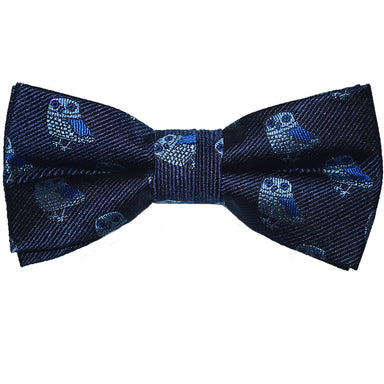 Owl Bow Tie - Blue on Navy, Woven Silk, Pre-Tied for Kids