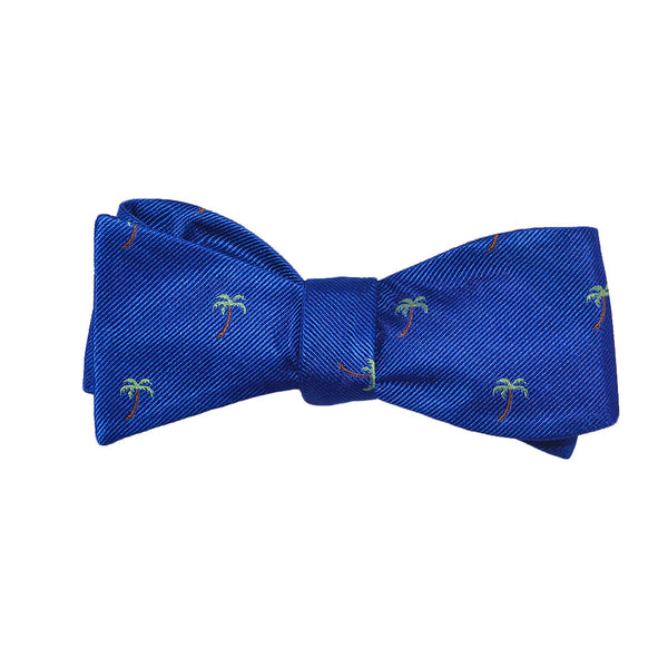 Palm Tree Bow Tie - Blue, Woven Silk - SummerTies