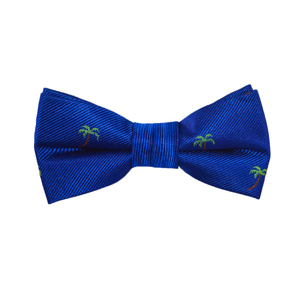 Palm Tree Bow Tie - Blue, Woven Silk, Pre-Tied for Kids - SummerTies