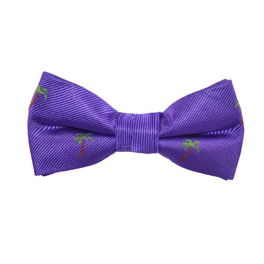Palm Tree Bow Tie - Purple, Woven Silk, Pre-Tied for Kids - SummerTies
