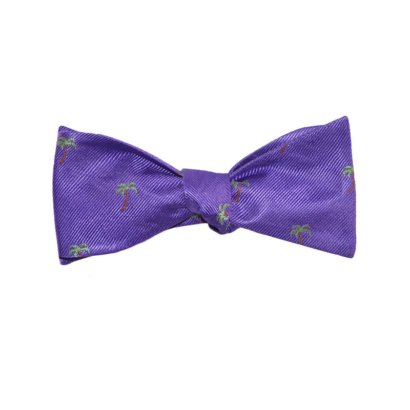 Palm Tree Bow Tie - Purple, Woven Silk - SummerTies