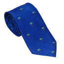 Palm Tree Necktie - Blue, Woven Silk - SummerTies