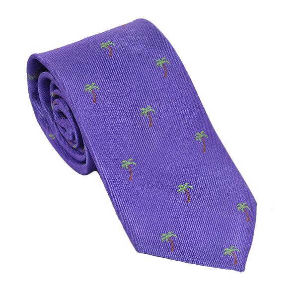 Palm Tree Necktie - Purple, Woven Silk - SummerTies