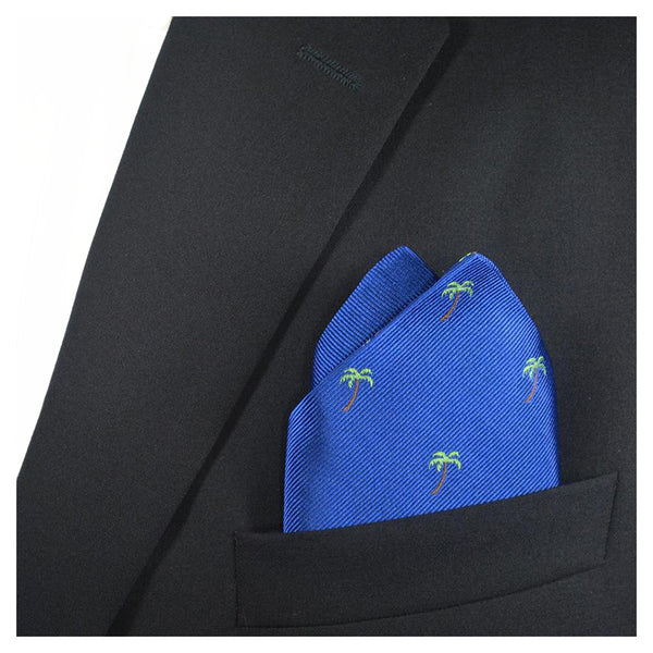 Palm Tree Pocket Square - Blue - SummerTies