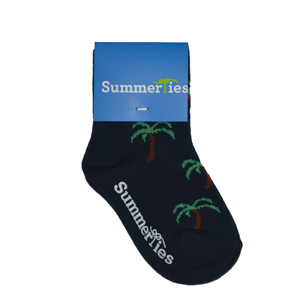 Palm Tree Socks - Toddler Crew Sock - Navy - SummerTies