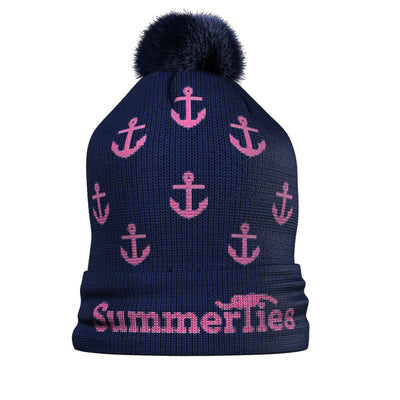Anchor Winter Hat - Pink on Navy - SummerTies