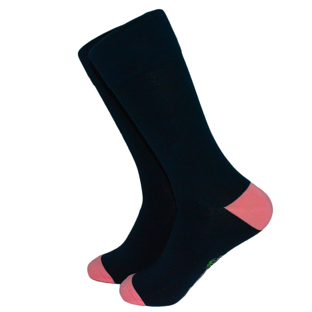 Solid Navy with Pink Toe and Heel Socks - Men's Mid Calf