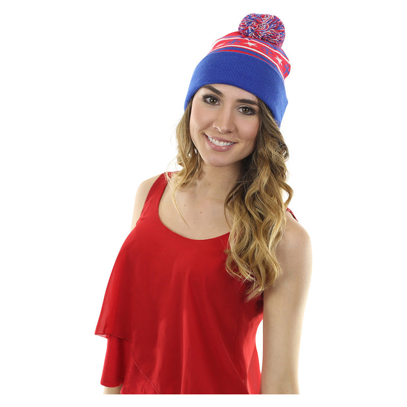 Anchor Winter Hat - Red, White, Blue - SummerTies