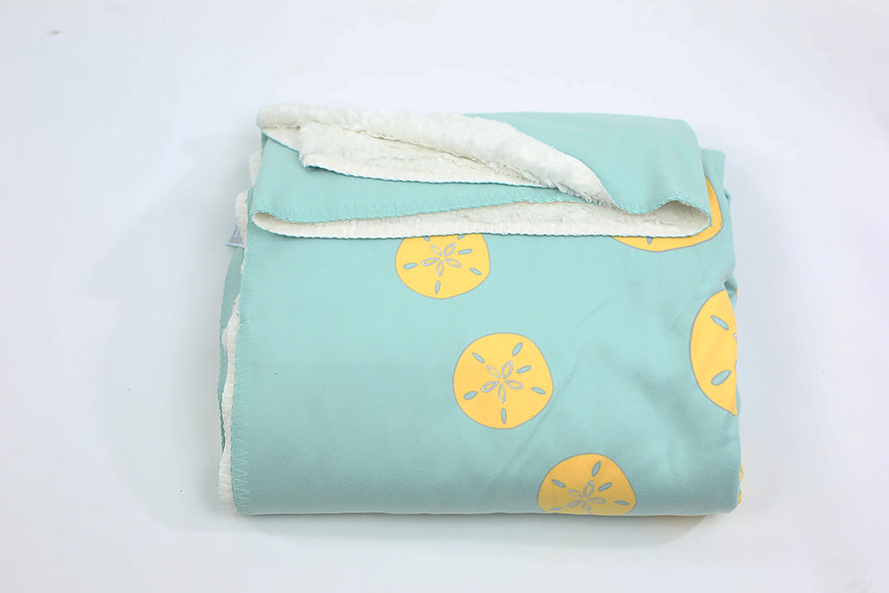 Sand Dollar Fleece Blanket - Yellow on Aqua