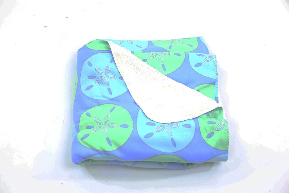 Sand Dollar Fleece Blanket - Aqua