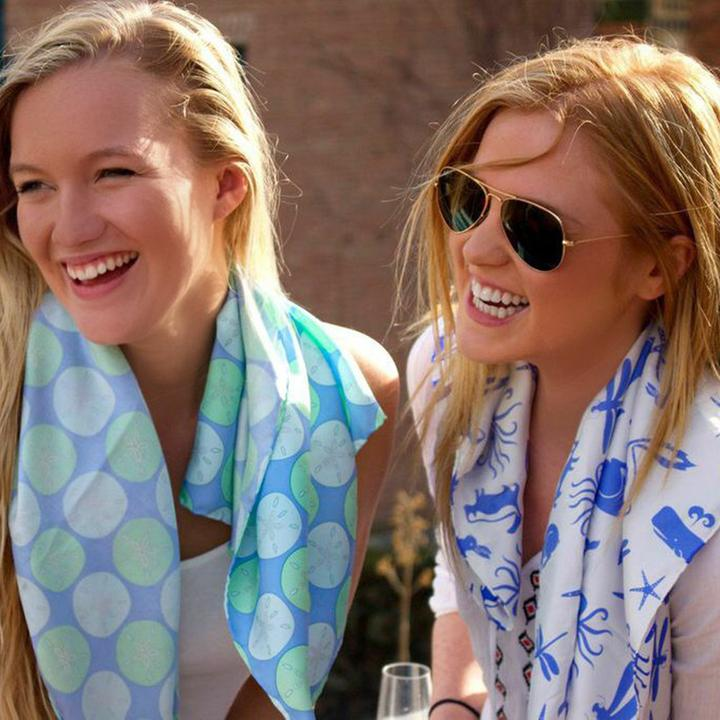 Multi Creature Square Scarf - Blue on White - SummerTies