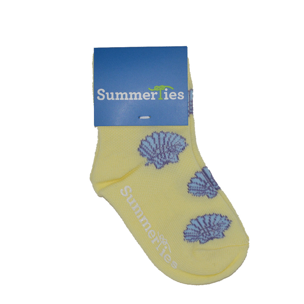 Sea Shell Socks - Toddler Crew Sock - Blue on Yellow