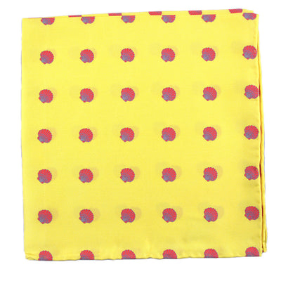 Sea Shell Pocket Square - Red on Yellow - SummerTies  - 2