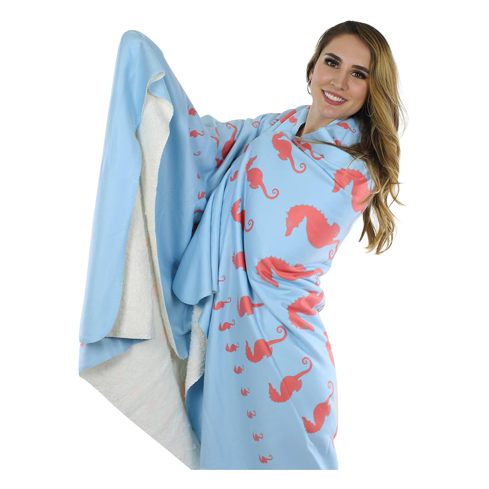 Seahorse Fleece Blanket - Coral on Blue