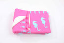 Seahorse Fleece Blanket - Blue on Pink