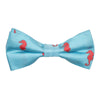 Seahorse Bow Tie - Coral on Light Blue, Printed Silk, Pre-Tied for Kids