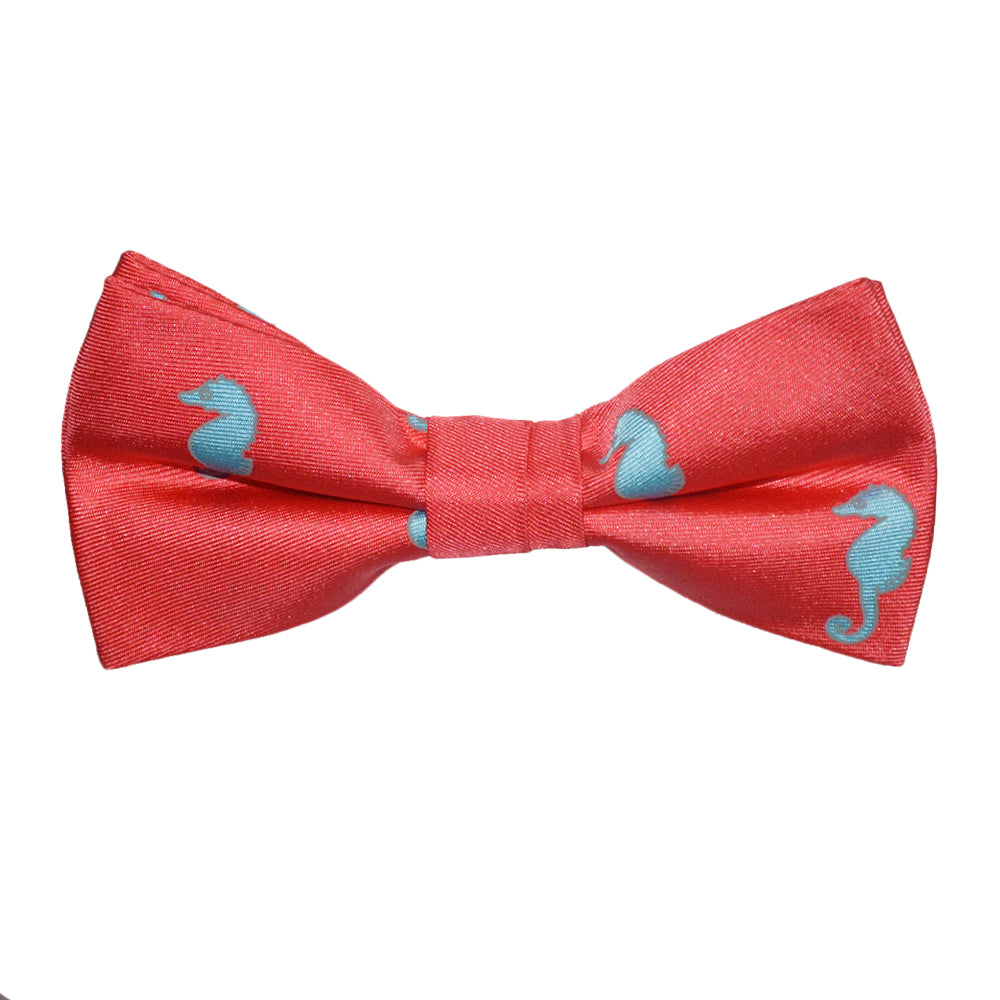 Seahorse Bow Tie - Light Blue on Coral, Printed Silk, Pre-Tied for Kids - SummerTies