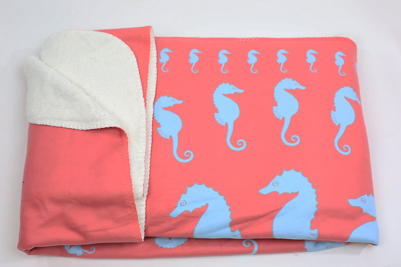 Seahorse Fleece Blanket - Blue on Coral