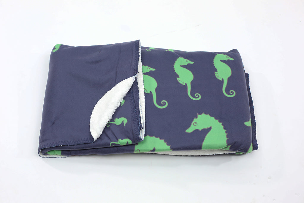 Seahorse Fleece Blanket - Green on Navy