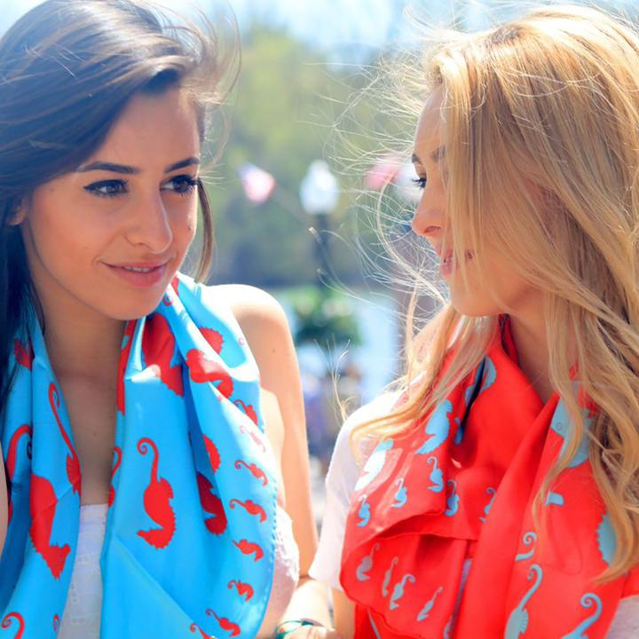 Seahorse Square Scarf - Coral on Light Blue - SummerTies