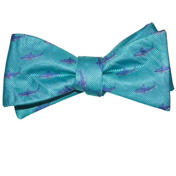 Shark Bow Tie - Blue on Aqua, Woven Silk