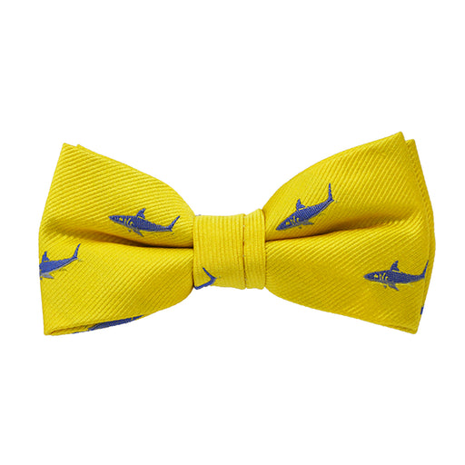 Shark Bow Tie - Yellow, Woven Silk, Pre-Tied for Kids