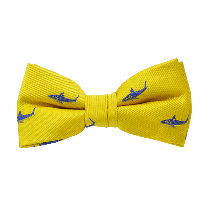 Shark Bow Tie - Yellow, Woven Silk, Pre-Tied for Kids - SummerTies