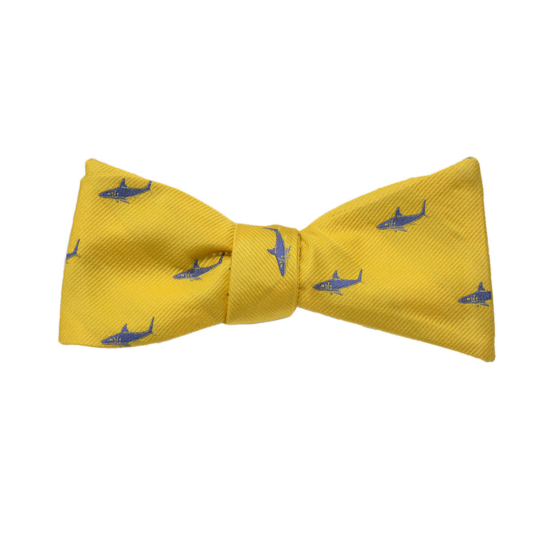 Shark Bow Tie - Blue on Yellow, Woven Silk - SummerTies