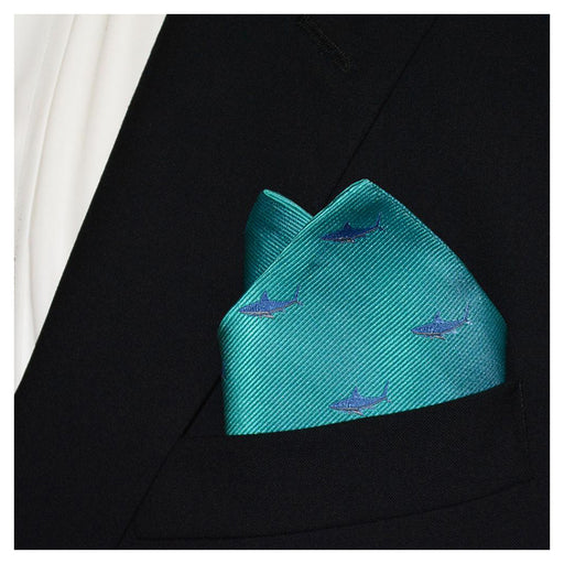 Shark Pocket Square - Blue on Aqua, Woven Silk