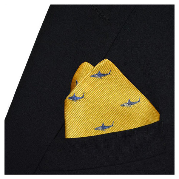 Shark Pocket Square - Blue on Yellow, Woven Silk