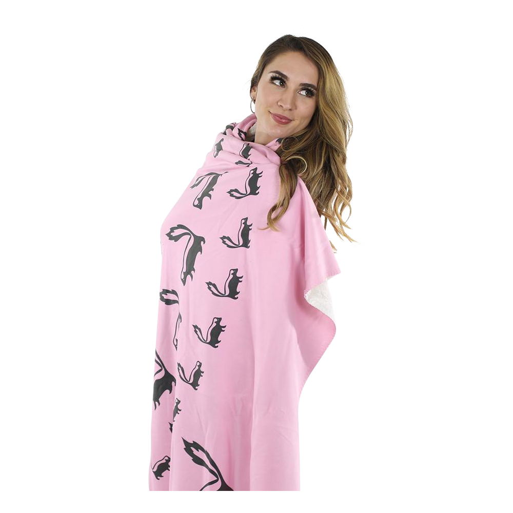 Skunk Fleece Blanket - Black on Pink