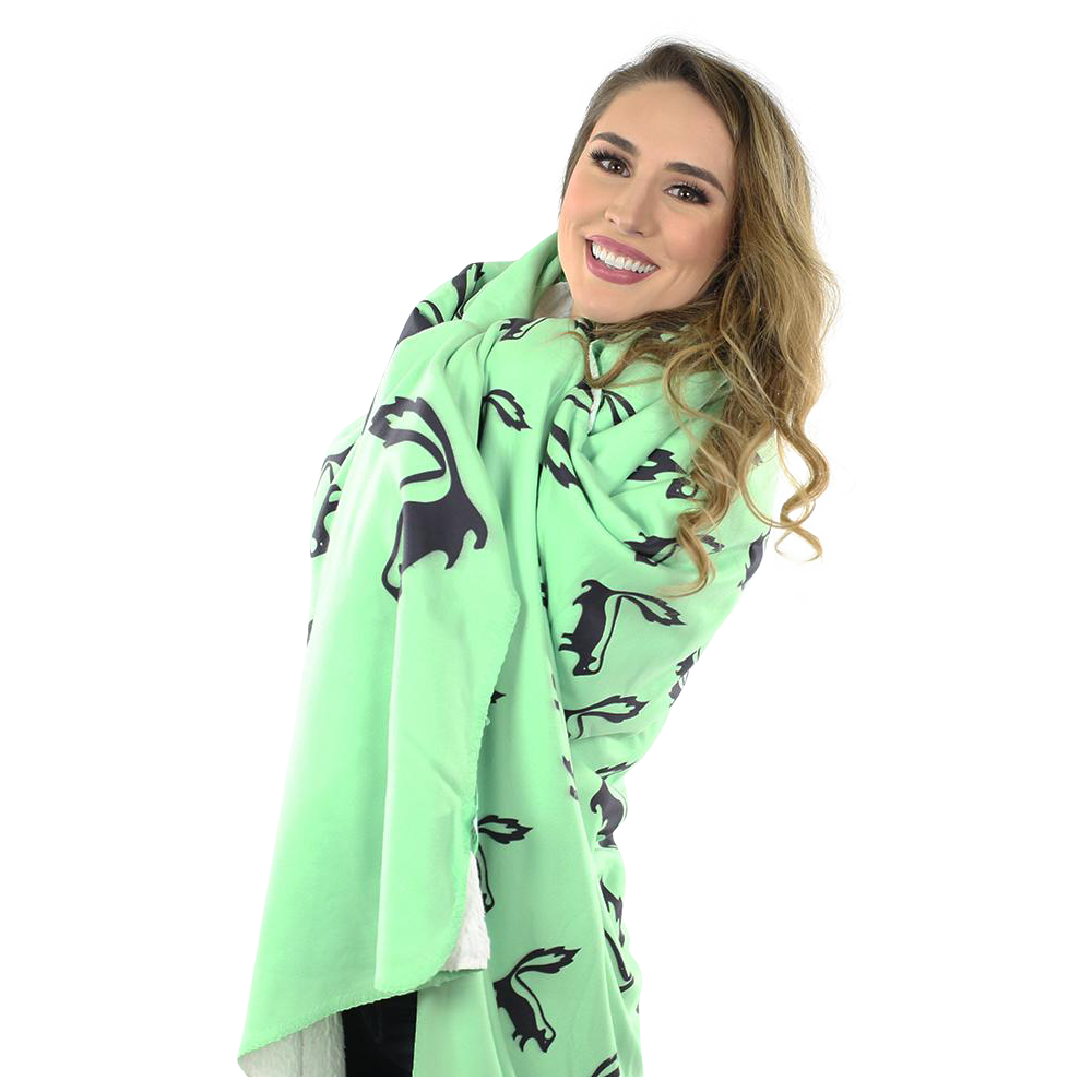 Skunk Fleece Blanket - Black on Green