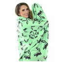 Skunk Fleece Blanket - Black on Green - SummerTies