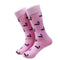Skunk Socks - Black on Pink - Men's Mid Calf - WHOLESALE - SummerTies