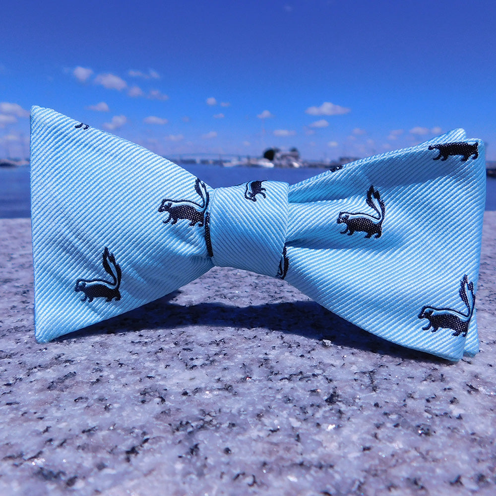 Skunk Bow Tie - Sea Green, Woven Silk - SummerTies