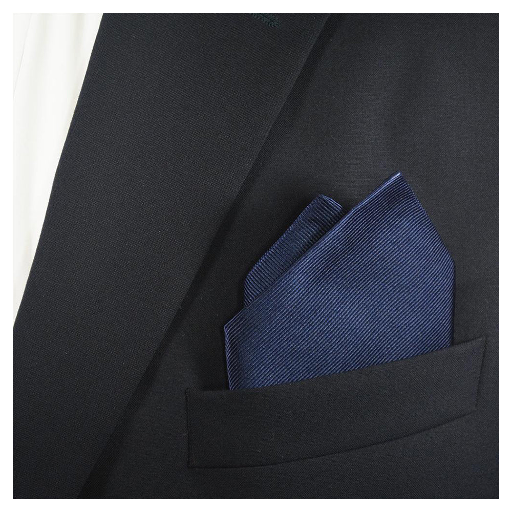 Solid Color Pocket Square - Navy, Woven Silk - SummerTies