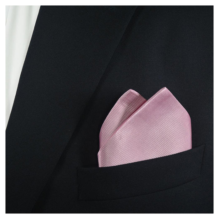 Solid Color Pocket Square - Pink, Woven Silk - SummerTies