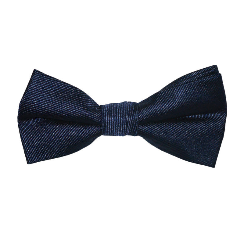 Solid Color Bow Tie - Navy, Woven Silk, Kids Pre-Tied - SummerTies