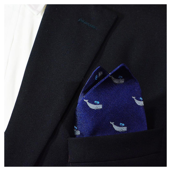 Sperm Whale Pocket Square - Navy - SummerTies