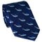 Sperm Whale Necktie - Grey on Navy, Woven Silk - SummerTies