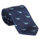 Sperm Whale Necktie - Grey on Navy, Woven Silk - Spread - SummerTies