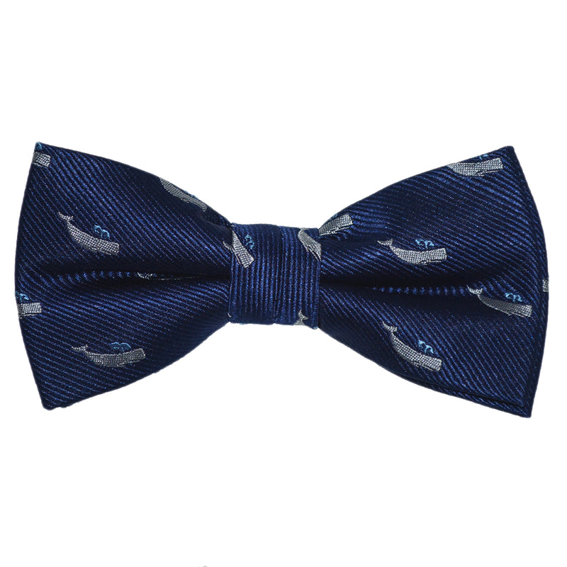 Sperm Whale Bow Tie - Navy, Woven Silk, Pre-Tied for Kids - SummerTies