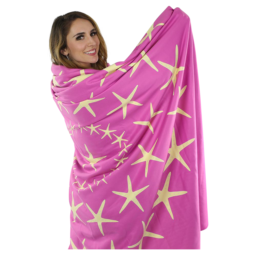 Starfish Fleece Blanket - Yellow on Pink