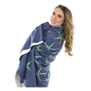 Starfish Fleece Blanket - Green on Navy