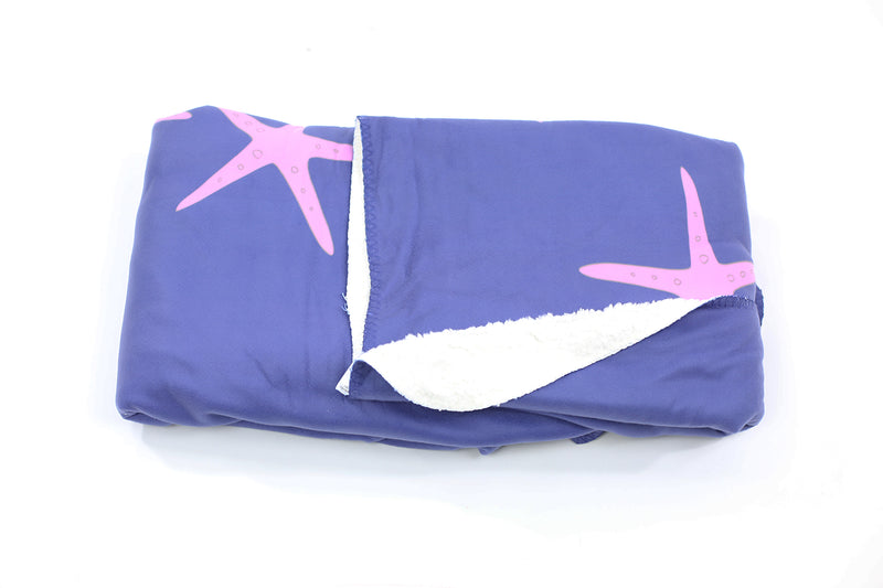 Starfish Fleece Blanket - Pink on Navy - SummerTies