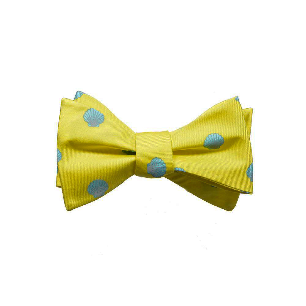 Sea Shell Bow Tie - Blue, Printed Silk - SummerTies
