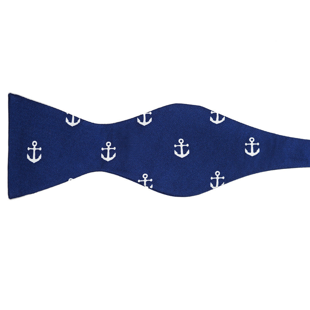 Anchor Bow Tie - Navy, Printed Silk - SummerTies