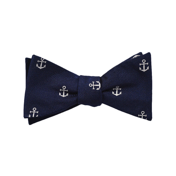 Anchor Bow Tie - White on Navy, Woven Silk - Spread - SummerTies