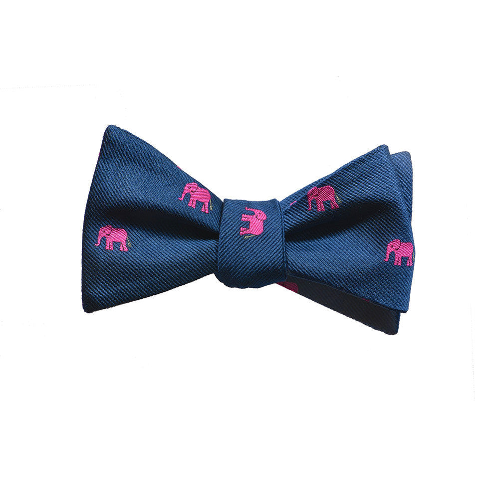 Elephant Bow Tie - Pink on Navy, Woven Silk - SummerTies